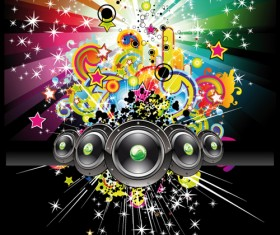 Bright Music Theme elements background vector 04