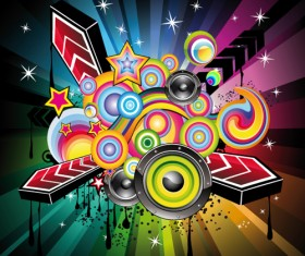 Bright Music Theme elements background vector 05