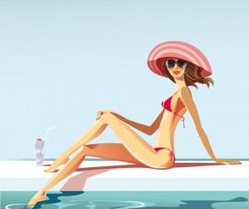 Summer Sexy Girls vector graphic set 01