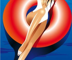 Summer Sexy Girls vector graphic set 05