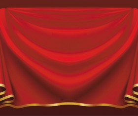 Red Stage Curtain design vector graphic 02