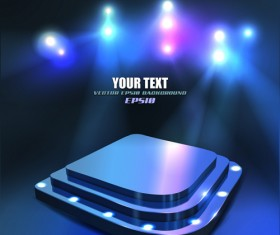 Set of Stage with spotlight vector background 04