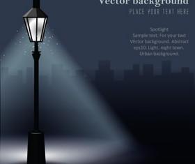 Shiny Street lamps background design vector set 01