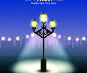 Shiny Street lamps background design vector set 02