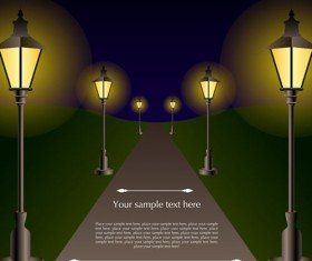 Shiny Street lamps background design vector set 03