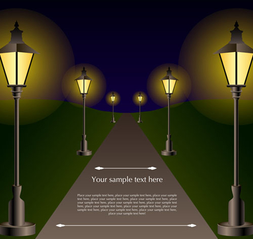 Shiny Street lamps background design vector set 03