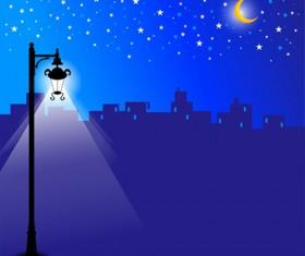 Shiny Street lamps background design vector set 04