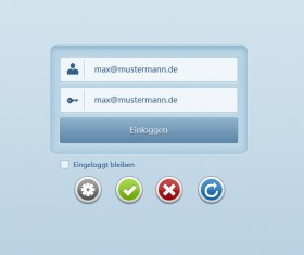 web elements login Interface and Button PSD