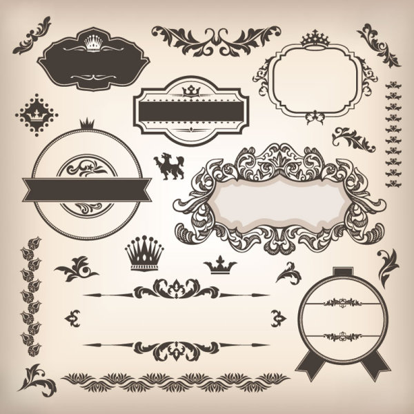 Vintage elements Borders and labels vector 02
