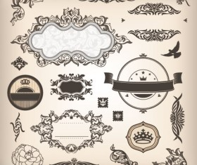 Vintage elements Borders and labels vector 04