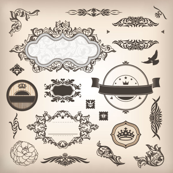 Vintage elements Borders and labels vector 04 free download