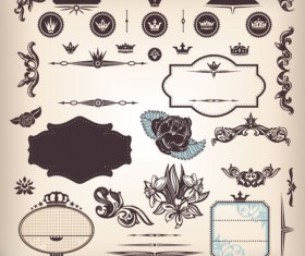 Vintage elements Borders and labels vector 05