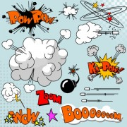 Link toComic explode design elements vector set 01