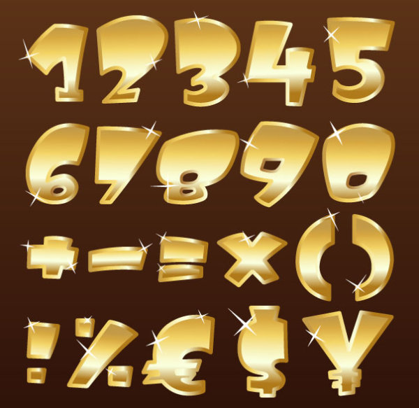 Shiny Gold Alphabet And Numeral Punctuation Vector 01
