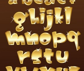 Shiny gold Alphabet and numeral, Punctuation vector 02