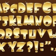 Link toShiny gold alphabet and numeral, punctuation vector 03