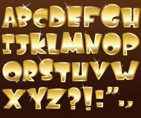 Shiny gold Alphabet and numeral, Punctuation vector 03
