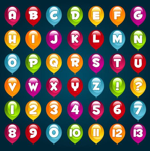 Bright Balloon Alphabet and numeral vector