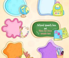 cute cartoon School Supplies vector set 01