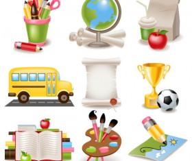 cute cartoon School Supplies vector set 03