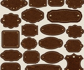 Different leather lables and tags mix vector 01