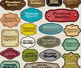 Different leather lables and tags mix vector 02
