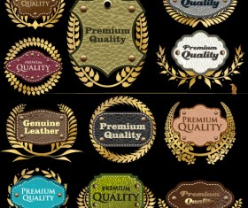 Different leather lables and tags mix vector 03