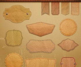 Different leather lables and tags mix vector 04