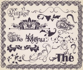 Vintage ornaments Frames with Borders design vector 04