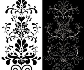 Black Seamless lace and ornaments vector 01
