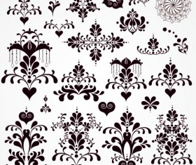 Black Seamless lace and ornaments vector 02