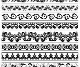 Black Seamless lace and ornaments vector 03