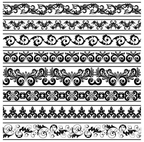 Free EPS file Black Seamless lace and ornaments vector 03 download