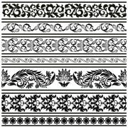 Link toBlack seamless lace and ornaments vector 04