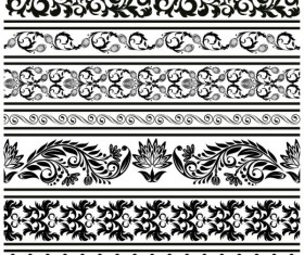 Black Seamless lace and ornaments vector 04