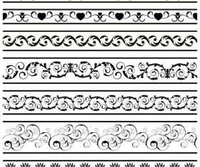 Black Seamless lace and ornaments vector 05
