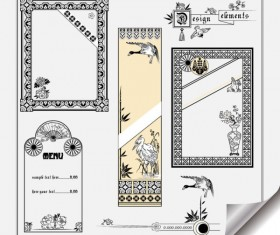 Retro Object Decorative Ornaments frames vector 03