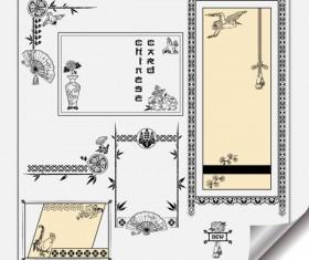 Retro Object Decorative Ornaments frames vector 04