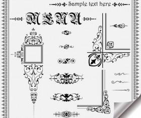 Retro Object Decorative Ornaments frames vector 05