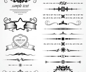 Retro Object Decorative Ornaments frames vector 07