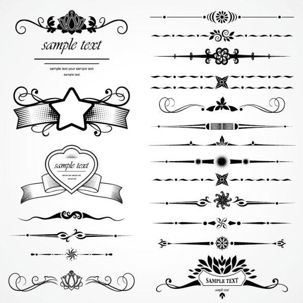 Retro Object Decorative Ornaments frames vector 07