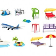 Link toLeisure and tourism elements mix icon vector