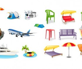 Leisure and tourism elements mix icon vector