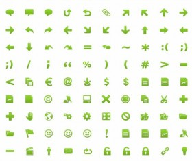 Small fine green icon set
