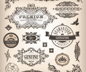 Vintage elements Borders and labels vector 01