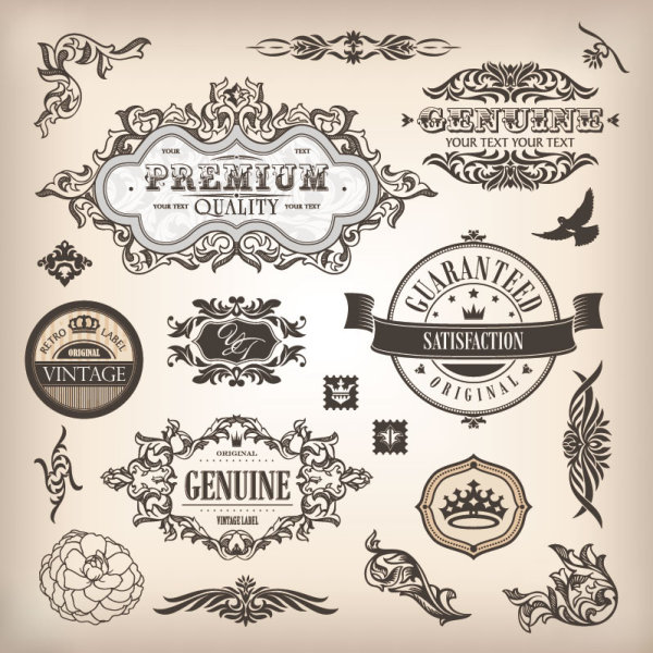 Vintage elements borders and labels vector 01 vector for Retro design definition