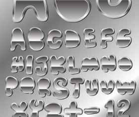 Set of Metal style Alphabet and numeral vector
