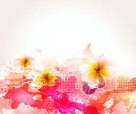 Splash color flower backgrounds vector 05