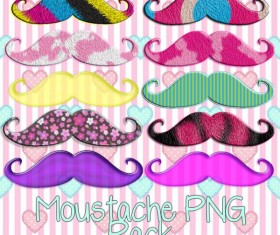 Various color mustache mix png pack