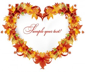 Autumn leaves Gift Card vector 01